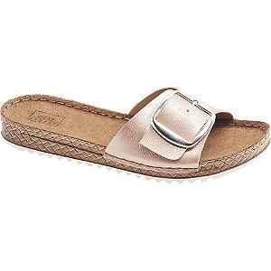 Levně Růžové metalické komfortní pantofle Easy Street