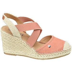Levně Růžové sandály na klínku Esprit