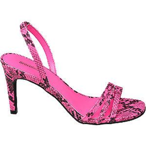 Levně Růžové sandály na podpatku Graceland se zvířecím vzorem
