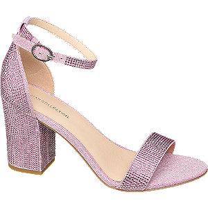 Levně Růžové sandály na podpatku Rita Ora s kamínky