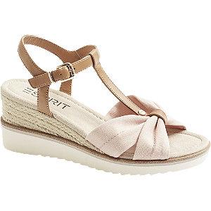 Levně Růžovo-hnědé sandály na klínku Esprit