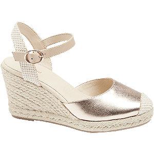 Levně Růžovo-zlaté sandály na klínku Graceland