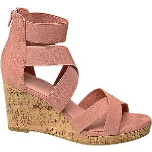Levně Starorůžové sandály na klínku Graceland