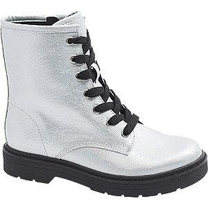 Levně Stříbrná kotníková obuv se zipem Graceland