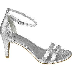 Levně Stříbrné sandály na podpatku Graceland