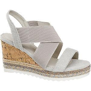 Levně Světle šedé sandály na klínku Claudia Ghizzani