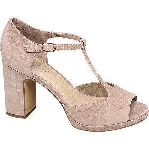 Levně Světle růžové kožené sandály na podpatku 5th Avenue