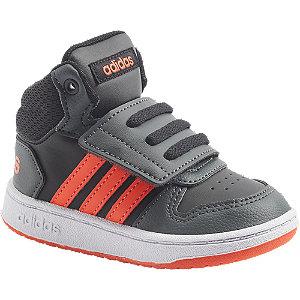 Levně Tmavě šedé dětské kotníkové tenisky Adidas Hoops Mid 2.0 Inf