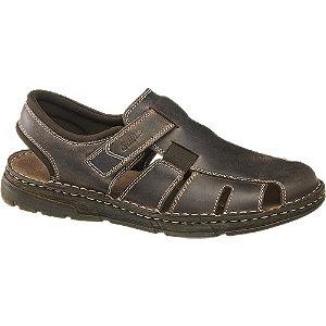 Levně Tmavě hnědé kožené komfortní sandály Gallus