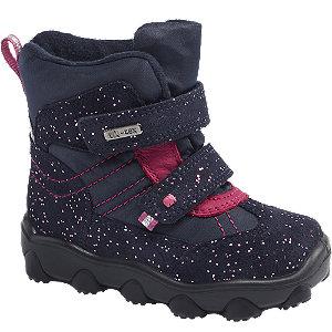 Levně Tmavě modrá dětská zimní obuv na suchý zip s TEX membránou