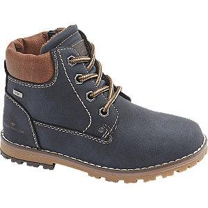 Levně Tmavě modrá kotníková šněrovací obuv se zipem Tom Tailor s TEX membránou