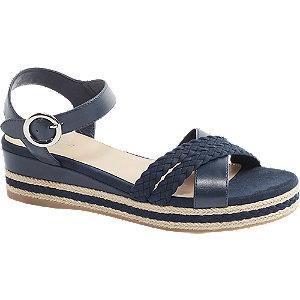 Levně Tmavě modré sandály na klínku Graceland