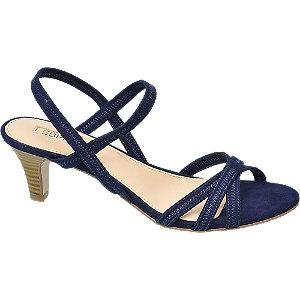 Levně Tmavě modré sandály na podpatku Esprit