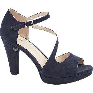 Levně Tmavě modré sandály na podpatku Graceland