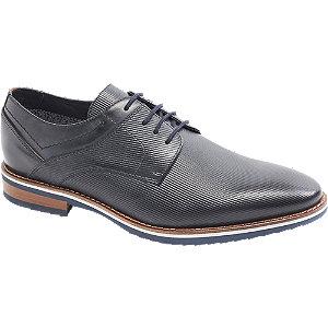 Levně Tmavomodrá kožená společenská obuv AM SHOE