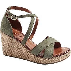 Levně Zelené kožené sandály na klínovém podpatku 5th Avenue