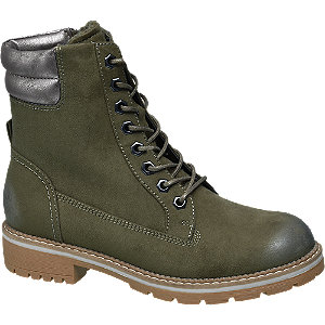 Levně Zelená šněrovací obuv Landrover se zipem