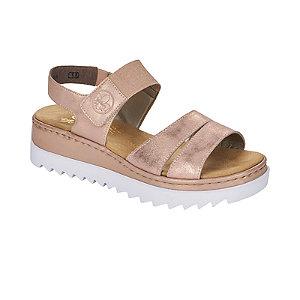 Levně Zlatorůžové kožené komfortní sandály na podpatku Rieker