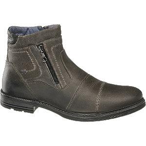 Levně Šedá kožená kotníková obuv se zipem AM Shoe