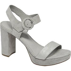 Levně Šedé kožené sandály na podpatku 5th Avenue