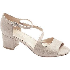 Levně Šedo-béžové sandály na podpatku Graceland