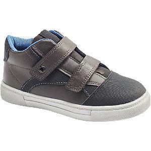 Levně Šedo-hnědé tenisky na suchý zip Bobbi-Shoes