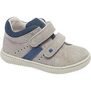 Levně Šedo-modrá dětská kožená kotníková obuv na suchý zip Elefanten Niko