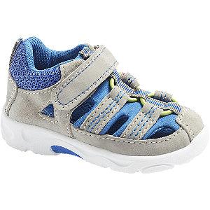 Levně Šedo-modré dětské kožené sandály na suchý zip Bärenschuhe
