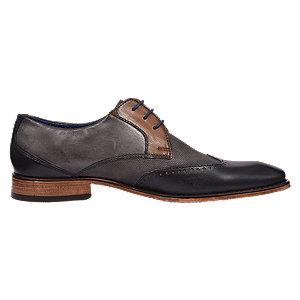 Levně Šedo-modrá kožená společenská obuv Bugatti