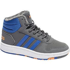 Levně Šedo-modré kotníkové tenisky Adidas Hoops Mid 2.0