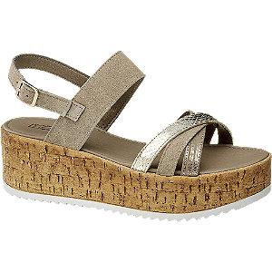 Levně Šedobéžové kožené sandály na platformě 5th Avenue