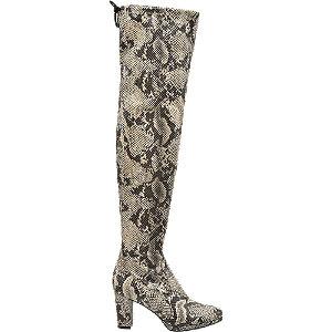 Levně Šedobéžové kozačky nad kolena Rita Ora se zvířecím vzorem
