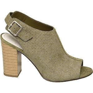 Levně Šedozelené sandály na podpatku Graceland