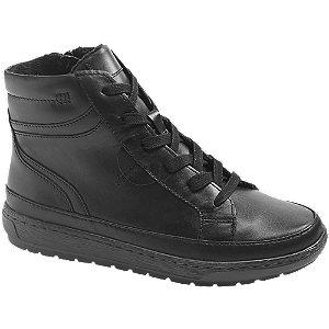 Levně Černá kožená komfortní šněrovací obuv se zipem Medicus
