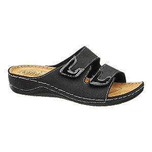 Levně Černé kožené komfortní pantofle Easy Street