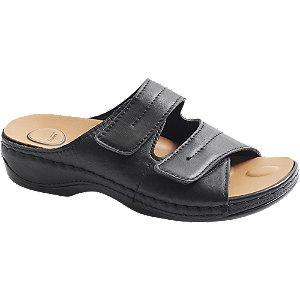 Levně Černé kožené komfortní pantofle Medicus