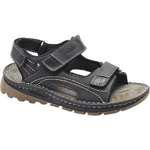 Levně Černé kožené komfortní sandály Gallus