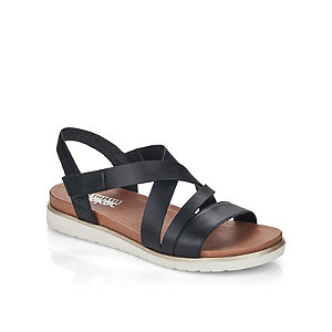 Levně Černé kožené komfortní sandály Rieker
