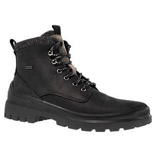 Levně Černá kožená kotníková obuv AM SHOE s TEX membránou