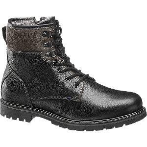 Levně Černá kožená kotníková obuv AM Shoe se zipem