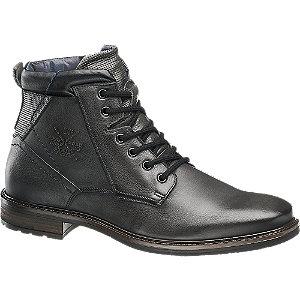 Levně Černá kožená kotníková obuv se zipem AM Shoe