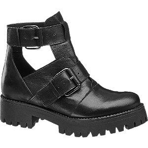 Levně Černá kožená obuv 5th Avenue