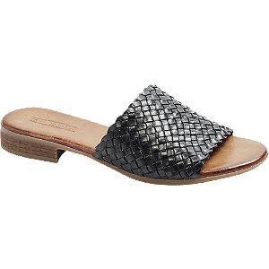 Levně Černé kožené pantofle 5th Avenue