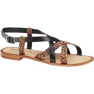 Levně Černé kožené sandály Vero Moda s leopardím vzorem