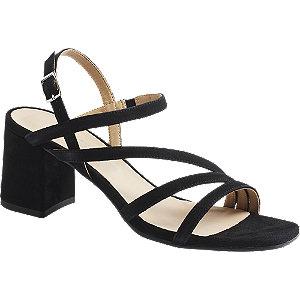 Levně Černé kožené sandály na podpatku 5th Avenue