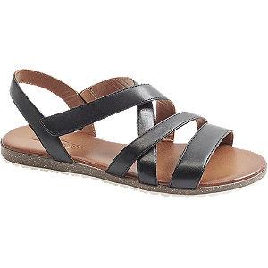 Levně Černé kožené sandály 5th Avenue