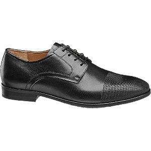Levně Černá kožená společenská obuv AM Shoe