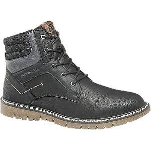 Levně Černá kotníková šněrovací obuv se zipem Jack & Jones