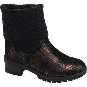 Levně Černé ponožkové kozačky s károvaným vzorem Catwalk