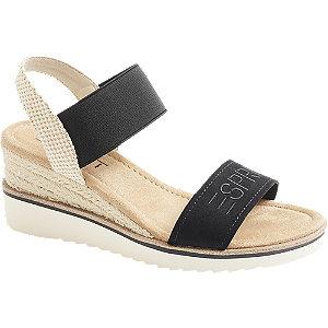 Levně Černé sandály na klínku Esprit
